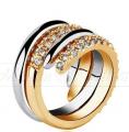 Obrączka z kryształami Swarovskiego pozłacana 18K- Ireth