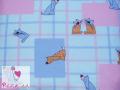 Pieluchy flanelowe kot i pies na niebiesko-różowym tle