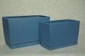 Wysokie doniczki prostokątne wydłużone w komplecie z ceramicznym podstawkiem