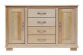 Komoda nr 05, 4-szufladowa, 2-drzwiowa drewniana, sosnowa, do salonu lub sypialni.S:118 W:84 G:47