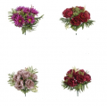 Kompozycje bukietowe z kolorowych kwiatów wiosennych.