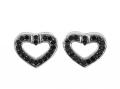 Srebrne kolczyki serca zdobione czarnymi cyrkoniami, waga 1,7g, piękny komplet na co dzień i do wieczornej sukienki.