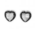 Bardzo efektowne i eleganckie kolczyki serca zdobione jasnymi i czarnymi cyrkoniami, próba srebra 925.