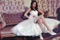 Swena krótka suknia ślubna z długim tyłem, tiulowa, na ramiączkach