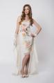 Zefira, dwuczęściowa sukienka letnia na wizyty i wesela, z nadrukiem kwiatowym. Dopasowany, krótki spód na cienkich ramiączkach i dłuższy, wierzch z szyfonu
