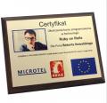 Dyplom, certyfikat pamiątkowy,  kolorowy z nadrukiem na blachę, ze zdjęciem rozmiar 203x254 lub 177x228 mm.