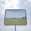 Poliwęglanowe lustra drogowe prostokątne w biało-czerwonej obudowie
