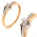 Złoty pierścionek z BRYLANTEM 0.10ct