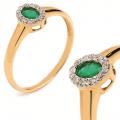 Złoty pierścionek z brylantem i szmaragdem 0.30ct