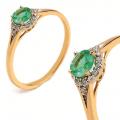 Złoty pierścionek z brylantem i szmaragdem 0.40ct