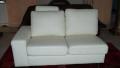 Leather modular ecru sofa
