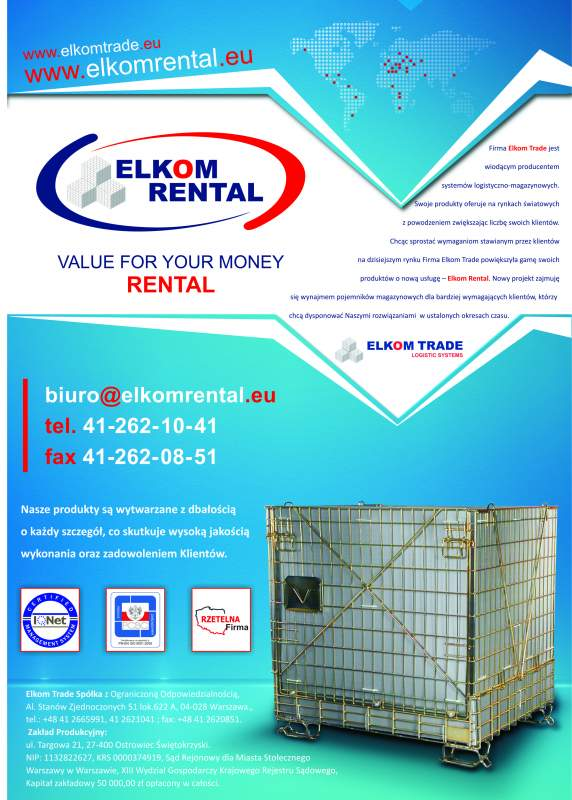 Zamówienie ELKOM RENTAL - wynajem pojemników