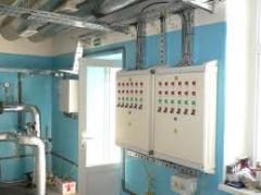 Installation of an electric lighting of buildings