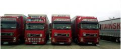 Międzynarodowy transport i spedycja pojazdami Volvo z naczepami o pojemności 102m3.